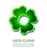 Shine lucky clover with shadow on abstract background for your design