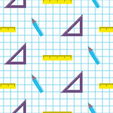 School objects vector seamless pattern.