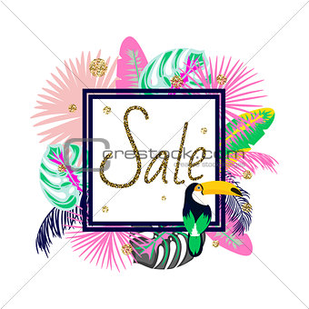 Frame banner for summer sale advertisement. Palm leaves flyer.