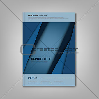Brochures book or flyer with blue abstract stripes template