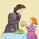 Aristocrat mother pouring her daughter a juice