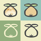 Vector outline pear icon with watercolor fill.