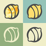 Vector outline lemon icon with watercolor fill.