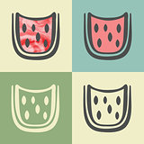 Vector outline watermelon slice icon with watercolor fill.