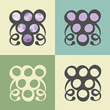 Vector outline grapes icon with watercolor fill.