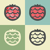 Vector outline strawberry icon with watercolor fill.
