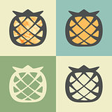 Vector outline pineapple icon with watercolor fill.