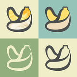 Vector outline banana icon with watercolor fill.