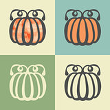 Vector outline pumpkin icon with watercolor fill.