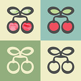 Vector outline cherry icon with watercolor fill.