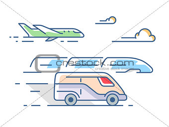 Air, road and rail transport