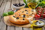 Italian Focaccia bread with olives and rosemary