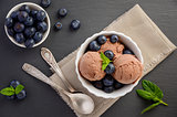 Chocolate ice cream with blueberries