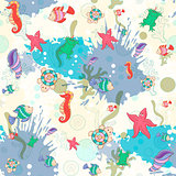 Seamless pattern with sea inhabitants