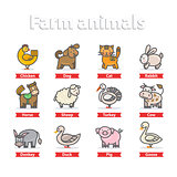 Farm animal icon set