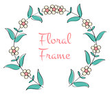 romantic floral round frame