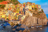 Manarola in the evening, Cinque Terre, Liguria, Italy