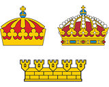 Set of heraldic swedish crowns