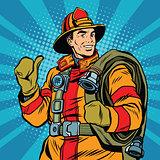 Rescue firefighter in safe helmet and uniform pop art