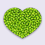 Vector Green Jumble Leaves Heart Shapes Design Element