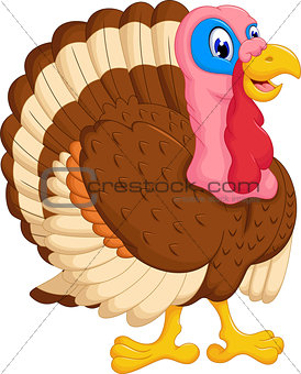 cute turkey cartoon posing
