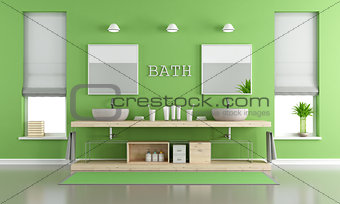 Green and gray contemporary bathroom with washbasins