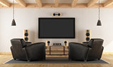 Home cinema system with vintage furniture