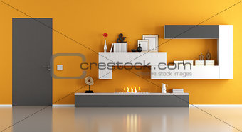 Modern living room with ecological fireplace - 3d rendering