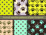 Vector seamless patters with cat or dog footprints.