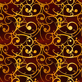 Golden baroque swirls on red, luxury seamless pattern