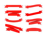 Set of red retro ribbons isolated on white