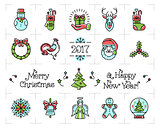 Christmas icons set, New Year isolated symbols. Celebration line logo