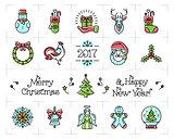 Christmas icons set, New Year isolated symbols. Celebration line logo