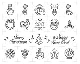 Christmas icons set, New Year isolated symbols. Holiday vector elements