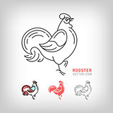 Rooster icons, black and color thin line vector isolated symbols