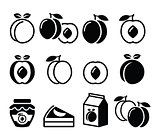 Peach, apricot, fruit icons set