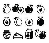 Peach, apricot, fruit icons set