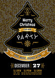 Christmas party poster Vector abstract gold and black background