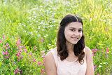 Portrait of Pretty teen girl outdoors in summer