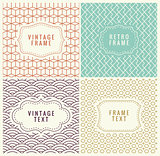 Retro Mono Line Frames with place for Text. Vector Design Template, Labels, Badges on Seamless Geometric Patterns. Minimal Textures. Backgrounds