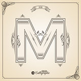 Calligraphic Fotn with Border, Frame Elements and Invitation Design Symbols. Collection of Vector glyph. Certificate Decor. Hand written retro feather Symbol. Letter M