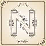 Calligraphic Fotn with Border, Frame Elements and Invitation Design Symbols. Collection of Vector glyph. Certificate Decor. Hand written retro feather Symbol. Letter N