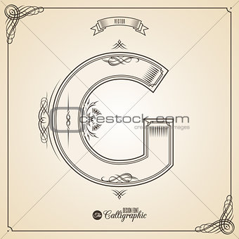 Calligraphic Fotn with Border, Frame Elements and Invitation Design Symbols. Collection of Vector glyph. Certificate Decor. Hand written retro feather Symbol. Letter G