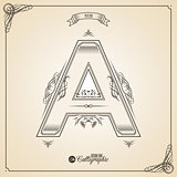 Calligraphic Fotn with Border, Frame Elements and Invitation Design Symbols. Collection of Vector glyph. Certificate Decor. Hand written retro feather Symbol. Letter A