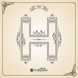 Calligraphic Fotn with Border, Frame Elements and Invitation Design Symbols. Collection of Vector glyph. Certificate Decor. Hand written retro feather Symbol. Letter H