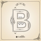 Calligraphic Fotn with Border, Frame Elements and Invitation Design Symbols. Collection of Vector glyph. Certificate Decor. Hand written retro feather Symbol. Letter B