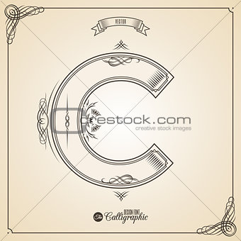 Calligraphic Fotn with Border, Frame Elements and Invitation Design Symbols. Collection of Vector glyph. Certificate Decor. Hand written retro feather Symbol. Letter C