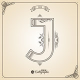 Calligraphic Fotn with Border, Frame Elements and Invitation Design Symbols. Collection of Vector glyph. Certificate Decor. Hand written retro feather Symbol. Letter J