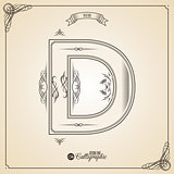 Calligraphic Fotn with Border, Frame Elements and Invitation Design Symbols. Collection of Vector glyph. Certificate Decor. Hand written retro feather Symbol. Letter D