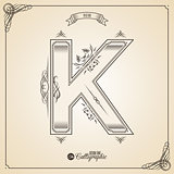 Calligraphic Fotn with Border, Frame Elements and Invitation Design Symbols. Collection of Vector glyph. Certificate Decor. Hand written retro feather Symbol. Letter K